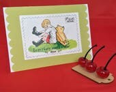 """Winnie the Pooh """"Everybody Needs a Bear to Lean On"""" postcard card"""