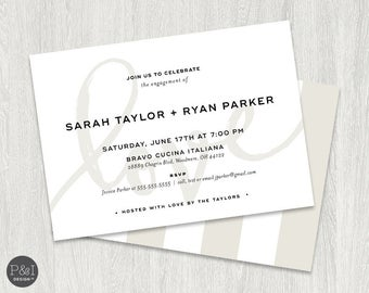 Love Engagement Party Invitation   Elegant and Modern   5x7   Blush Pink and Taupe