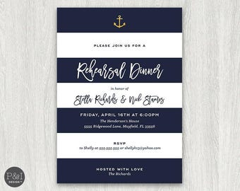 Rehearsal Dinner Invitations | Nautical Stripes | White and Navy | Gold Anchor | 5x7 | Digital