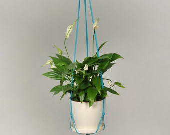 Modern Macrame Plant Hanger / Hanging Planter / Plant Holder / plant / planter / indoor planter / hanging plant / office decor /  turquoise
