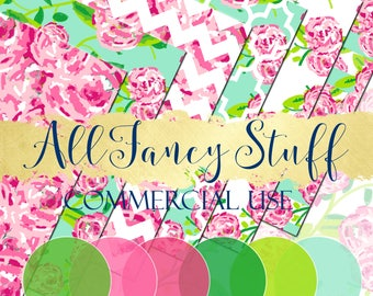 Commercial Use   Digital Paper   Clip Art   Lily Pulitzer Inspired  