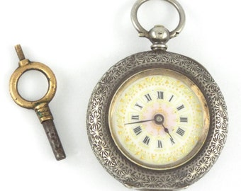 1890-1907s Antique Swiss Sterling Silver 935 Ladies Pocket Watch for UK w/ Key