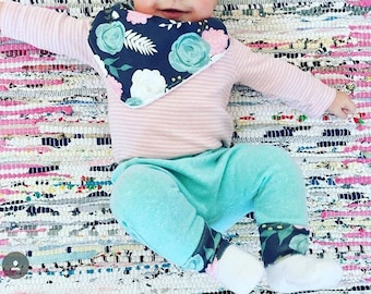 Mint with Navy Floral Print Set: navy floral Harem Leggings,floral bib,harem leggings, navy floral