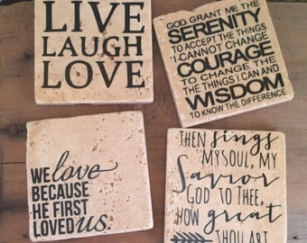 Custom Coasters, Live Laugh Love Coasters, Home Decor, Mothers Day Gift, Coasters, Custom Gift