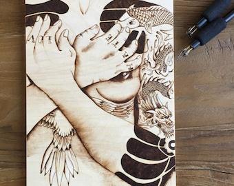 Tattoo Art - Rustic Decor - Female Form -  Wood Burning - Modern Art - Unique Decor - Female Art - Art On Wood - TimberleeEU