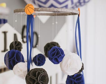 Baby Mobile: Blue, Gray and White with felt puff-ball rosettes and Swarovski crystals