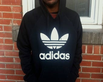 black adidas logo hoodie mens medium or women large
