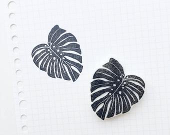 Monstera Leaf stamp. tropical leaf  stamp. monstera leaf. tropical leaf. handmade. hand carved stamp. rubber stamp. mounted