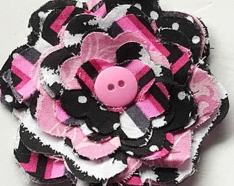 Pink and Black Flower for Dog or Cat Collar