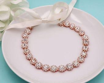 Bridal Headband Rose Gold, Bridal Ribbon Headband, crystal ribbon headband, wedding headpiece, rhinestone tiara, ribbon headband 526260253