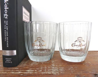 Vintage Crown Royal Canadian Whiskey Glasses, Set Of 2 Gold Crown Glass Barware