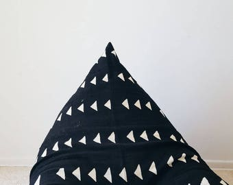 Authentic Mudcloth Boho Lounger™, Mudcloth Pouf, Boho Pouf, Warm Black with Cream Beige, Triangles, Geometric