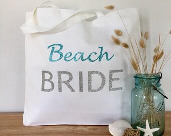Beach Bride Tote Bag: Bride tote bag, wedding tote or honeymoon tote