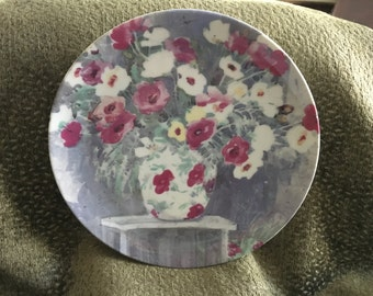 Vandor Dawna Barton 1991 Collectible Plate, Vase w Poppies, Vase w Flowers, Floral Plate, Made in Japan, Dawna Barton