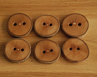 6 Handmade Small Wooden Buttons 28-30mm Tree Branch Buttons Sewing Knitting Craft