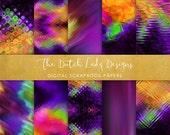 Digital Scrapbook Paper - Purple Psychedelics - 10 Papers in .JPEG File - INSTANT DOWNLOAD