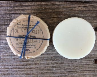 Olive Oil and Tallow Shaving Bar, Round Soap Bar, Bar Soap, foaming shaving bar, gift for him, eco friendly, chemical free