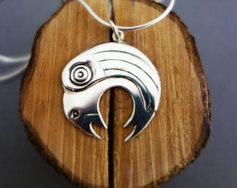 Raven necklace, silver raven necklace, tribal raven necklace, raven pendant, bird pendant