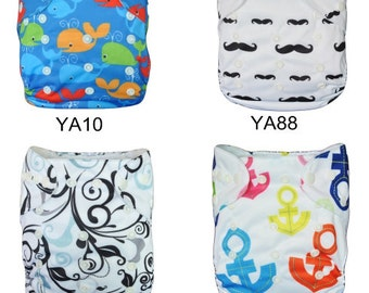 New Born Cloth Diapers up to 33lbs, All In One Cloth Diaper 20 piece Set, One Size Fits All Pocket Cloth Diaper with Microfiber Insert