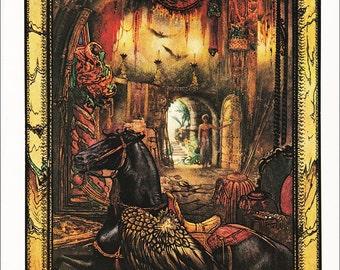 Arabian Nights illustration black horse The Three Calenders fairy tale Julius Detmold 1922 vintage