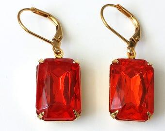 Orange Rhinestone Earrings Hyacinth Rhinestone Earrings Old Hollywood Glam Earrings  Orange Drop Earrings Orange and Gold Earrings