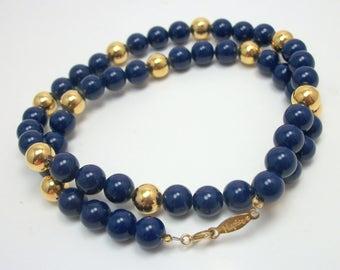 Navy Blue Lucite Bead Necklace - Vintage 80s Napier Jewelry