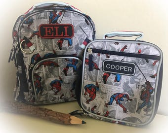 Personalized Backpack Monogrammed Spiderman Backpack with Lunchbox Pottery Barn