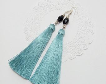 Tassel Earrings, Aquamarine earrings, Long Tassel Earrings, Luxury Tassel Earring, Silky Tassel Jewelry