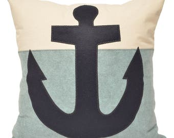 "21"" Navy Blue Anchor Color Block Decorative Throw Pillow, blue beach pillow, Coastal Home, Nautical Decor, Beach House, The Salty Cottage"