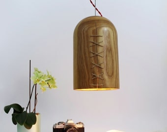 SALE Urban wooden pendant lighting with red braided cable. Solid ash.