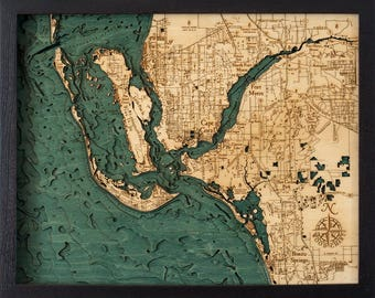 Ft. Myers Wood Carved Topographic Depth Map