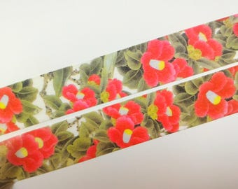 Red flower washi tape
