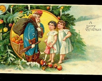Santa Claus in Blue Coat with Toys & Children 1908 Postcard