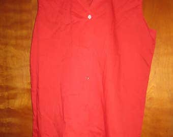 "1980's Red Sleeveless Button Down Blouse. ""Durbale Press, Never needs Ironing"""