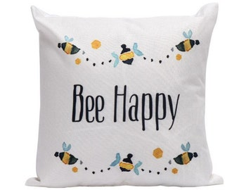 Bee Happy Pillow Cover