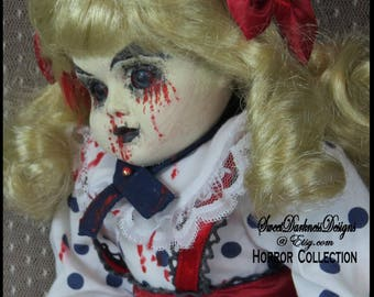 Gothic HORROR Doll MUSICAL Dead Doll VICTORIAN Doll Vampire Doll  Zombie Doll hand painted Bleeding Horror Dolls by SweetDarknessDesigns