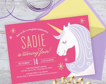 Unicorn Birthday Invitation - personalized printable invitation, birthday party, kids birthday, magic, magical, horse, unicorn