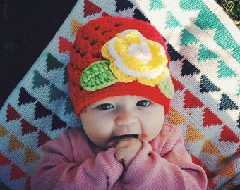 Baby gift, baby hat, girls hat, crochet hat with flower (red), baby flower hat, sring hat,  - aged 0-12 months