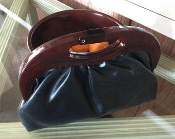 Vintage black and lucite framed handbag