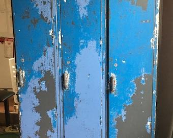 Vintage Blue Metal School Lockers From The 60s Industrial Storage Mud Room Metal Decor Storage Lockers Metal Cabinets
