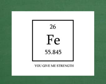 You Give Me Strength Iron Anniversary Note Card, Chemistry Anniversary Greeting Cards, Funeral Thank You Notecards, Encouragement Cards