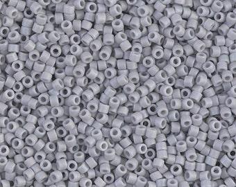 11/0 Matte Opaque Ghost Gray AB Miyuki Delica-1598, DB1598, Delica 1598, 6 Grams