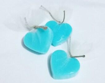10 Blue Raspberry Scent Shea Butter Blend Heart Shaped Mini Soap Favors / Blue Raspberry Soap / Shower Favors / wedding / baby shower favors