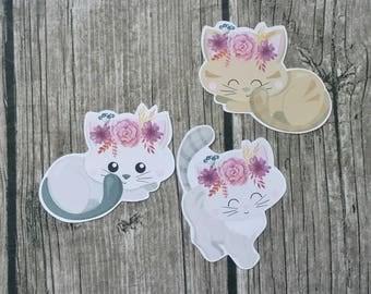 Cute Cat Die Cut   Floral Headband Die Cuts   Cat Headband Die Cuts   Die Cuts  Cute Die Cuts   Planner Die Cuts     TN   Travelers Notebook