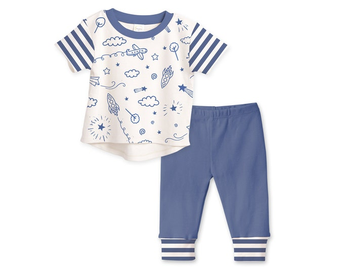 SUMMER SPECIAL! Baby Boy Outfit, Baby Boy T-shirt, Baby Boy Leggings, Airplane, Spaceship, Baby Boy Gifts, Baby Boy Clothes TL120SKBI0000