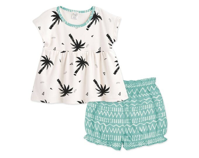 Baby Girl Summer Outfit, Baby Girl Shirt, Baby Top & Bloomers, Baby Take Home, Palm Tree, Green Chevron, Tesababe TB020TCSI0000
