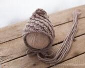 Slant Stitch Newborn Bonnet, Pixie Newborn Bonnet, Knit Baby Hat, Newborn Hat, Diagonal Stitch Bonnet, Bonnet, Baby Bonnet