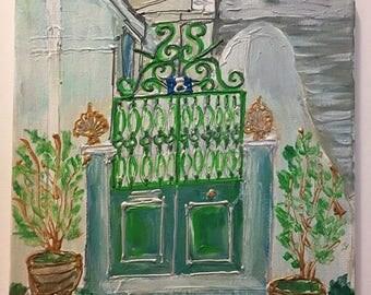 Old Green Door of Athens - Greece