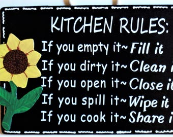SUNFLOWER Kitchen Rules SIGN Wall Hanger Hanging Plaque Handcrafted Hand Painted Country Wood Crafts Decor