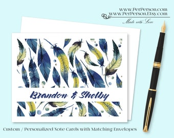 Free Ship!  Set of 12 Personalized / Custom Notecards, Boxed, Blank Inside, Feathers, Feather, Initials, Monogram, Name